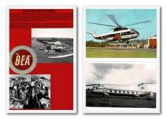 (Ephemera) BEA 1953-56 helicopter miscellany of 11 items comprising three first flights each with air letter label; original photographs of helicopters (3), interiors (2) and Northolt Airport 1953; BEA helicopter baggage label; and colour PPC of Sikorski S61N. See images.