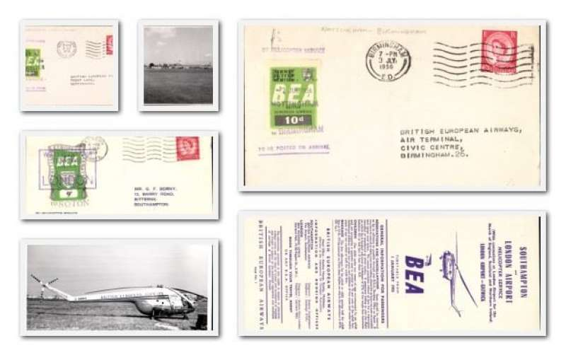 (Ephemera) BEA helicopter service, 6 items including 1954 first flight London-Southampton with 9d air letter stamp,1956 Nottingham-Birmingham and Leicester-Nottingham each with 10p air letter stamp, two original black and white BEA helicopter photographs, and a BEA Southampton and London airport helicopter service timetable January 1st 1955. Image.