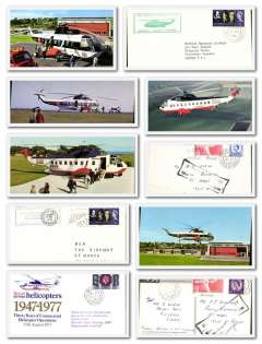 (Ephemera) BEA Scilly Isles, a 1950's-60's miscellany of 20 items including four first flights to the Isles, two 1967 covers from Penzance-Scilly each franked with the BEA one shilling a letter stamp, two B&W photographs BEA helicopters, five timetables, and seven colour PPC?s of various BEA helicopters (slight duplication). Images 2.