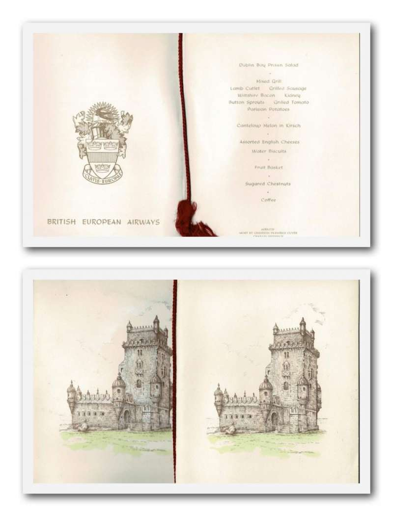 (Ephemera) BEA, two first class dining menus each with a front colour illustration of the Belem Tower on the Tagus, the site of the first flight between Portugal and Brazil, fine. Image.