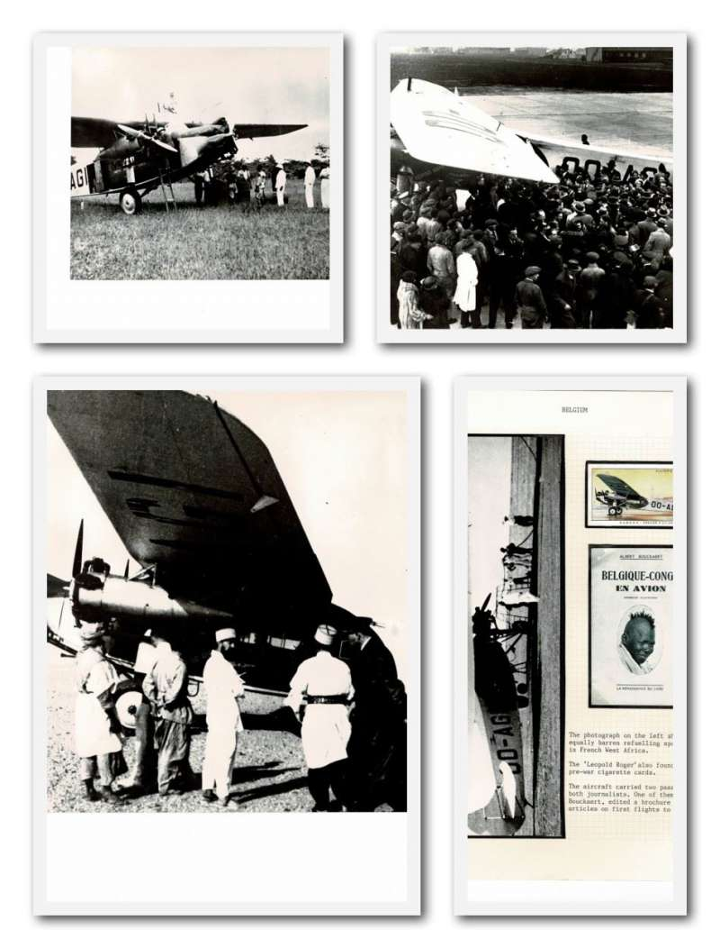 (Collections) Belgian Congo, four original B&W photographs,17x23cm, taken during the second regular flight from Brussels, 8th March 1935. One shows the Fokker F.VII 'Leopold Rodger' on the tarmac shortly before departure at Haren Airport Brussels; another of the plane being refuelled at a barren spot at Niamey in French West Africa; another taken at Reggan in Southern Algeria, the last stop before the flight was over the worst section of the Sahara, and another being refuelled from petrol drums at Coquilhatville in the Belgian Congo. A rare group. Image.