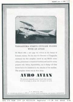 (Ephemera) Avro 616 Avian IVM, G-AACV, the first aeroplane owned by any British crown colony, purchased by the Tanganyika Government Air Service, 16/3/1929. B&W picture, not photo, mounted on album leaf from Flight, JUly 5th, 1929.