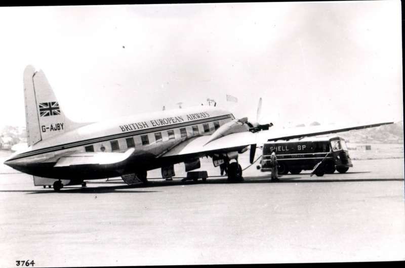 (Ephemera) BEA Vickers Viking, G-AJBY, on the tarmac, original B&W Aircraft Photograph,14x9cm.