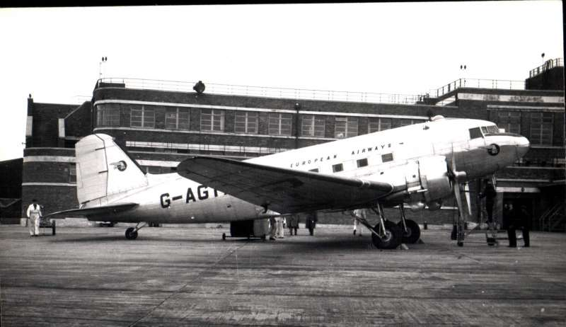 (Ephemera) BEA DC3 on the tarmac, original B&W Aircraft Photograph,14x9cm.