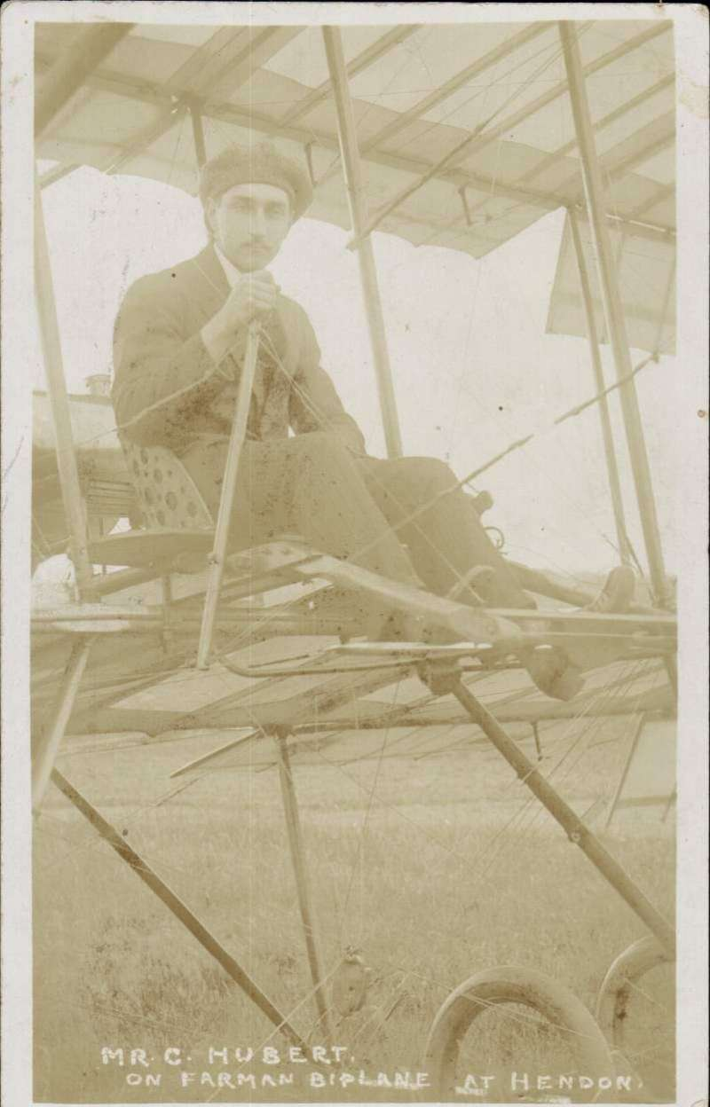 (Ephemera) Mr C Hubert on Farman Biplane at Hendon, original used sepia PPC, August 1912. Plate somewhat faded, see scan.