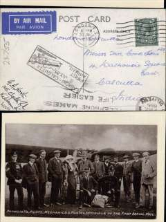 """(Ephemera) 1911, group photograph of 14 promoters, pilots, mechanics & postal officials of the First Aerial Mail, used B&W PPC sent on F/F regular service London to Calcutta, arrival cds on front, boxed rectangular """"Karachi-Calcutta/8 Jul 33"""" arrival cachet , franked 4d. Superb item, see scan."""