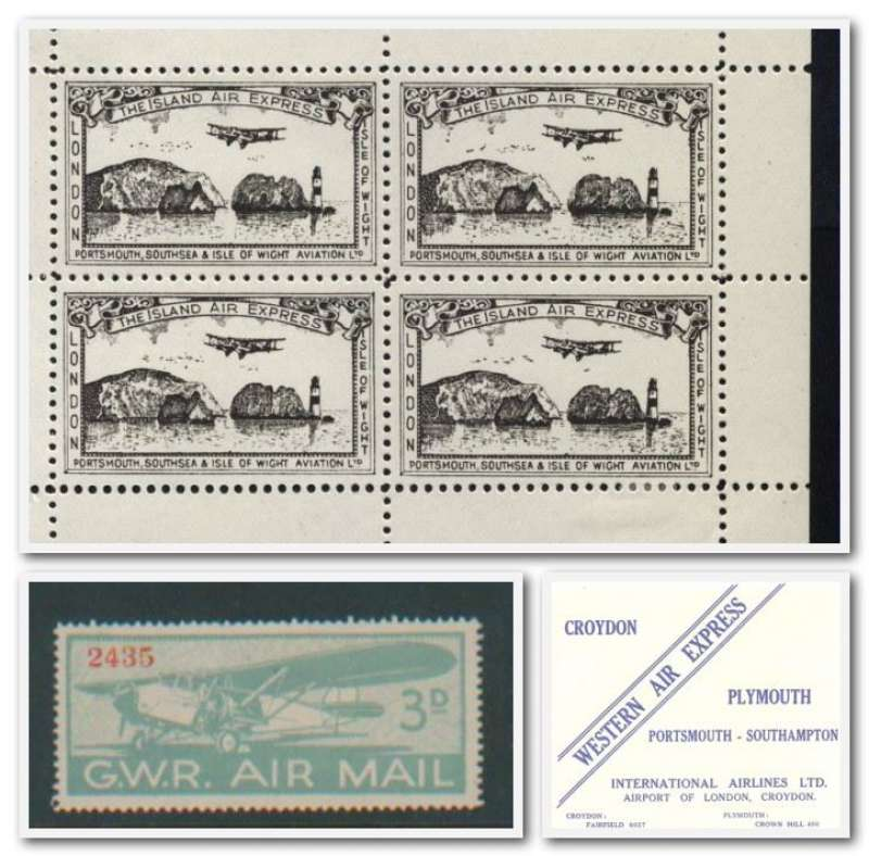 (Collections) Great Britain airline ephemera, 4 items, 1933 Great Western Railway, pair of 3d stamps, unused no gum; Portsmouth, Southsea and Isle of Wight Aviation Ltd second issue essays 1934 sheet of four, mint lightly mounted on selvedge; International Airlines limited (Western Air Express) blue/white Portsmouth to Southampton baggage label unmounted mint c1933; BEA double decker airport bus c1960 B&W photo. Images.