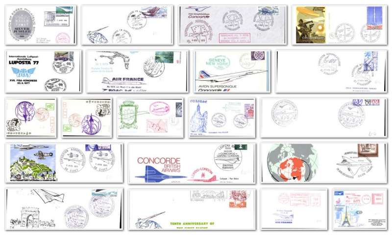 (Collections) Concorde, collection of 20 Concorde commemorative flights from 1969, all different, all scanned on web site. Image.