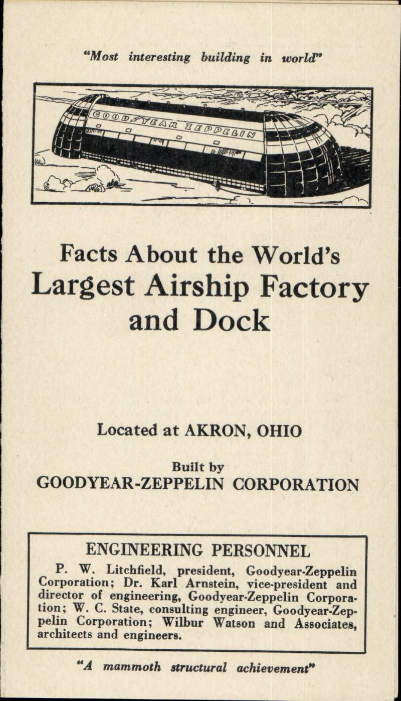 (Ephemera) Facts About the World's Largest Airship Factory and Dock, located at Akron, card brochure, 15x9cm, 1931