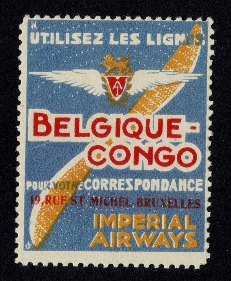 "(Ephemera) Imperial Airways label, ""Utilisez Les Ligness/Belgique Congo/Imperial Airways"" over IAW logo, blue/white/red/yellow, 5x4cm, GB 70, scarce."