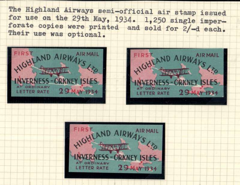 (Ephemera) Highland Airways semi official air stamp x 3. Issued 29th May 1934.