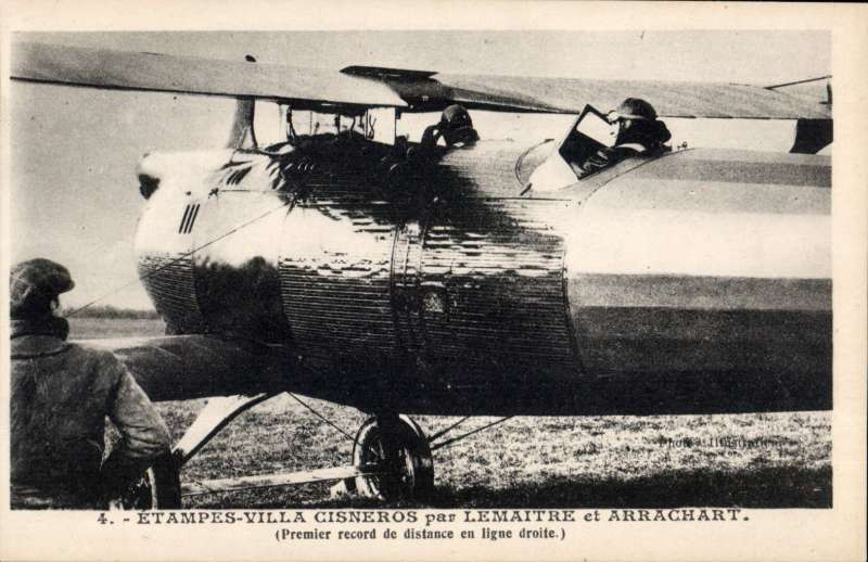 (Ephemera) 1925 Lemaitre & Arrachart record distance flight Etampes (Paris) to Dakar. Original celebration B&W PPC showing plane on the tarmac, pub Ligne Aeronautique de France.