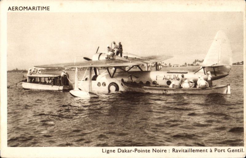 (Ephemera) Compagnie des Cargeurs Reunis Aeromaritime, original sepia company PPC showing Aיromaritime Sikorsky S-43 F-AOUM being refuelled at Port Gentil on the Dakar-Pointe Noire service,