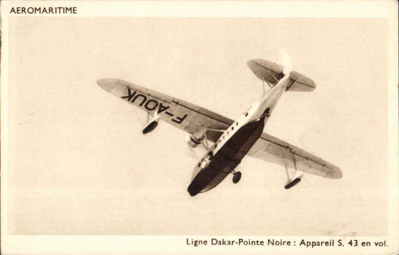 (Ephemera) Compagnie des Cargeurs Reunis Aeromaritime, original sepia company PPC showing Aיromaritime Sikorsky S-43, F-AOUK, in flight on the Dakar-Pointe Noire service,