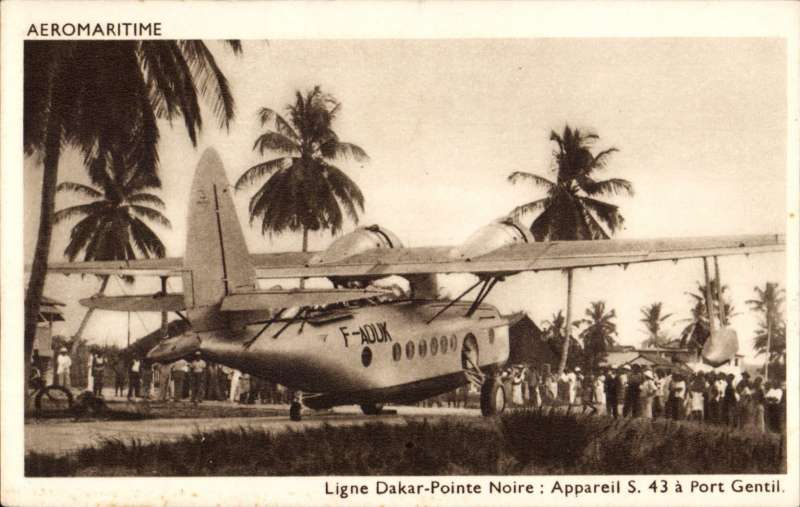 (Ephemera) Compagnie des Cargeurs Reunis Aeromaritime, original sepia company PPC showing Aיromaritime Sikorsky S-43 F-AOUK on the ground at Port Gentil.
