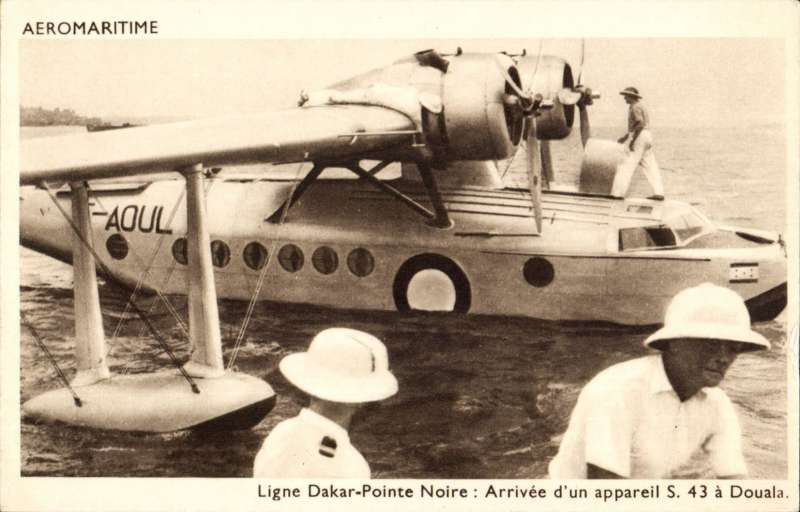 (Ephemera) Compagnie des Chargeurs Reunis Aeromaritime, original sepia company PPC showing Aיromaritime Sikorsky S-43 F-AOUL arriving at Doualia on Dakar-Pointe Noire service on the ground at Port Gentil.