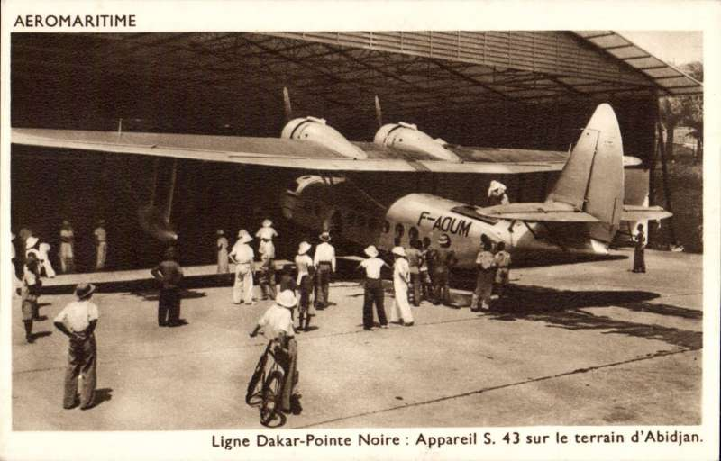 (Ephemera) Compagnie des Chargeurs Reunis Aeromaritime, original sepia company PPC showing Aיromaritime Sikorsky S-43 F-AOUM on the ground at  Abidjan.