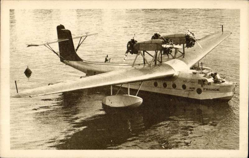 (Ephemera) Air France Sikorsky 43 from the Algiers-Balieric Islands-Marseille service at mooring, original sepia company PPC .