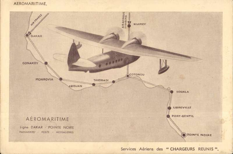 (Ephemera) Compagnie des Chargeurs Reunis Aeromaritime, sepia promotion PPC, showing Sikorsky 43 flying over the Dakar-Pointe Noire route and eight intermediate stops. Good introduction for the exhibit.