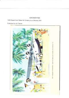 (Ephemera) Air France multicoloured  original poster, 1936 departure of Sikorsky S43 from Dakar to Conkary, 15x21cm.