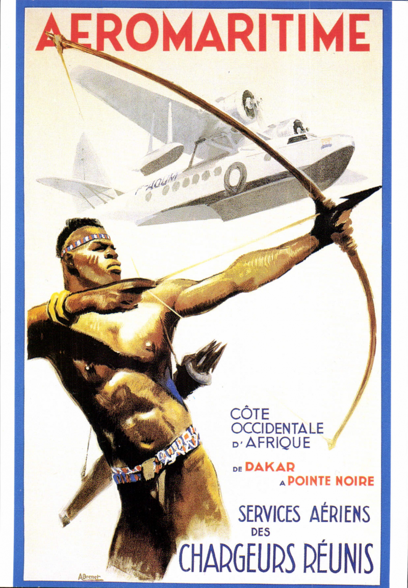 (Ephemera) Compagnie des Chargeurs Reunis Aeromaritime, original multicoloured PPC (c1937) showing native with bow and arrow and Aיromaritime Sikorsky S-43 F-AOUM flying overhead.