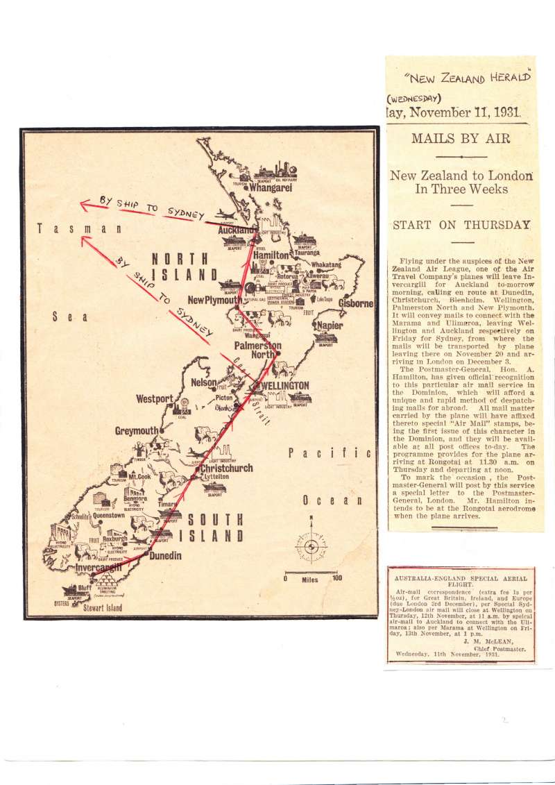 (Ephemera) Invercargill-Auckland inauguration flight to speed overseas deliveries to London via Sydney. New Zealand Herald newspaper cutting, 11/11/1931, 150 words and detailed route map with stopping places, See scan