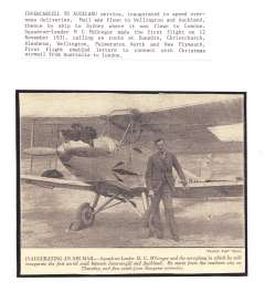 (Ephemera) Invercargill-Auckland inauguration flight, 12/11/1931, to speed overseas deliveries to London via Sydney. Evening Standard newspaper picture, 16x12cm, showing Sqdn. Leader M.C.McGregor standing by plane to be used for the flight. Mounted on album page with text, see scan