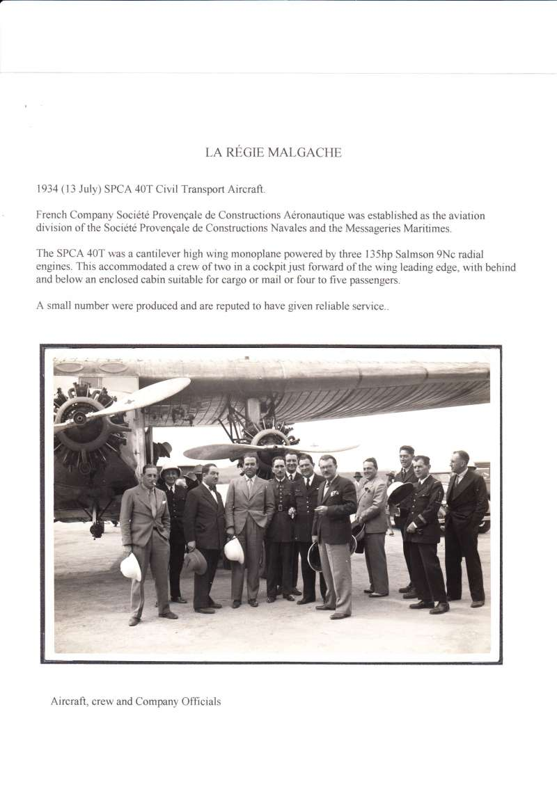 (Ephemera) La Regie Malgache, Societe Provencale de Constructions Aeronautique, original B&W photograph, 17x12cm, of the SPCA 40T Civil Transport aircraft on the tarmac with crew and company officials, 13/7/1934. Mounted on album leaf with text, see scan.
