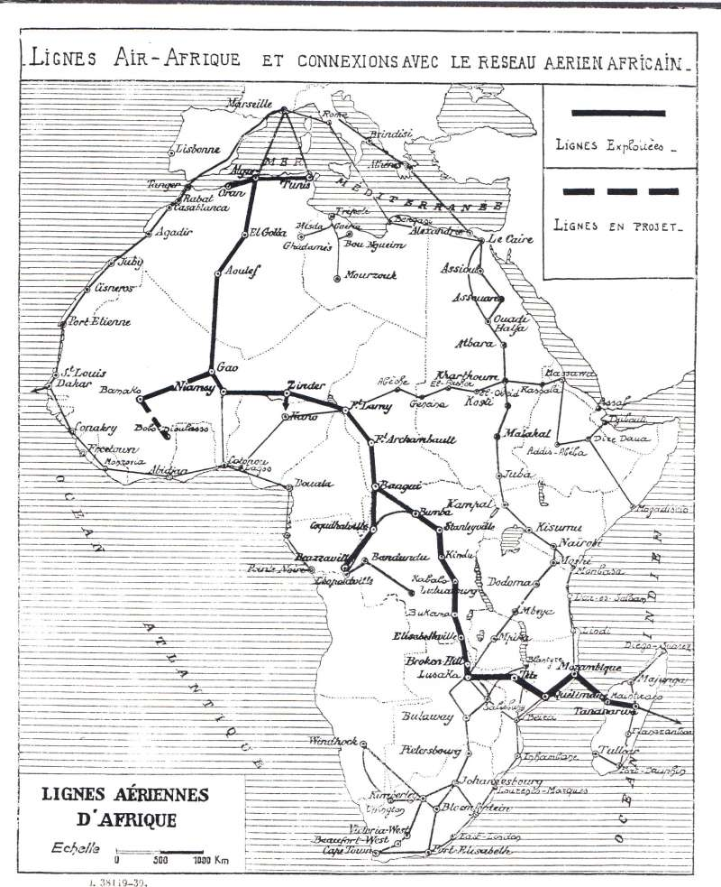 (Ephemera) Lignes Air Afrique/Le Resau Aerien Africain, detailed B&W map of trans Sahara and trans Africa routes from Marseille to Tananarive, and all intermediate stops, 21x28cm.