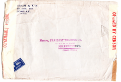 (India) WWII high franked censored airmail from Bombay to Johannesburg, carried from Bombay to Karachi by Indian National Airways and from Karachi to Johannesburg by BOAC over the emergency Horseshoe Flying Boat Route established after Italy entered the War in June 1940. Airmail etiquette commercial corner cover, 23x17cm, franked  8R 14annas 6 p(KGVI 14 As x10 + 2As 6p), sealed red/white India OBC sensor tape tied by India black triangular censor mark. Correctly franked annas for inclusive x9 weight franking. Some top edge crumple, see scan..