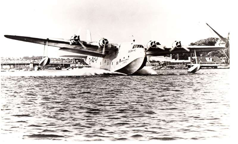 """(Ephemera) Imperial Airways """"Golden Hind"""", G-AFCI, introduced into service on 21/7/39, a large transport flying-boat with non-stop transatlantic capability, original B&W photograph of plane taking off, 24x19cm."""
