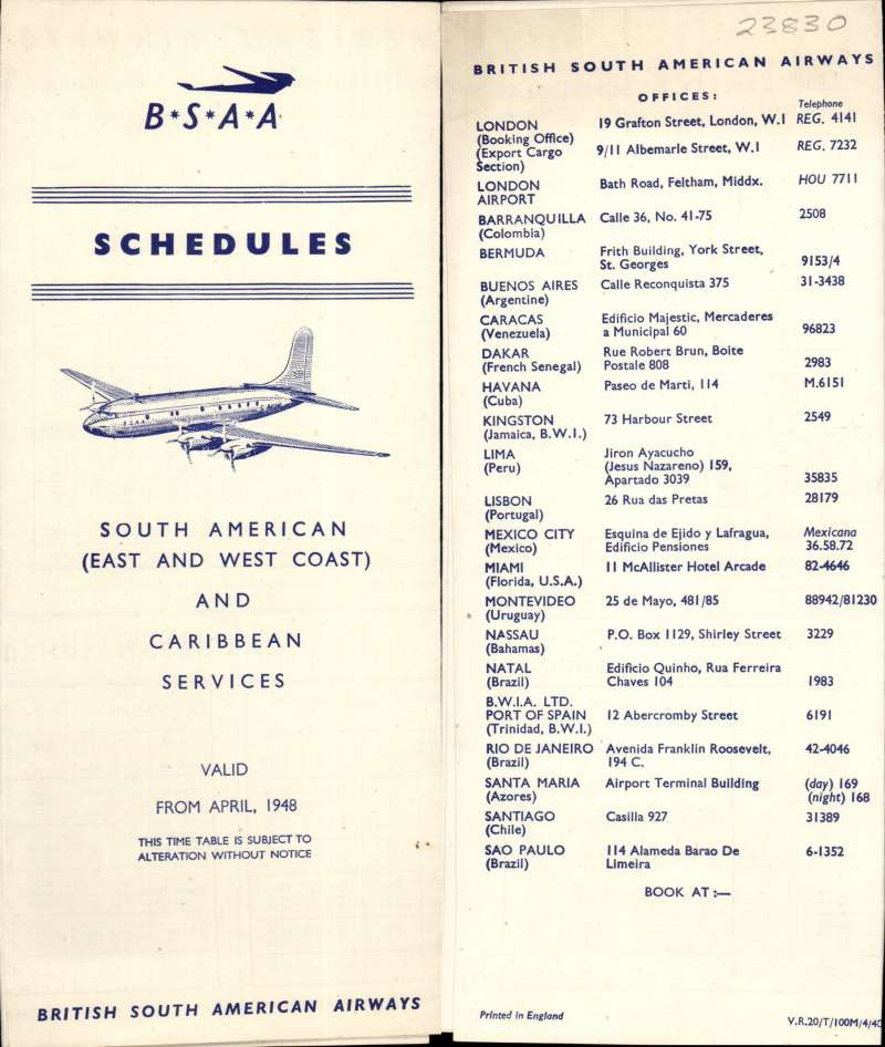 (Ephemera) B.S.A.A. timetables for S. American (East & West Coast) and Carbbean Services (C 36 cities), and including route map, 8pp, 21x8cm, valid from April 1948.