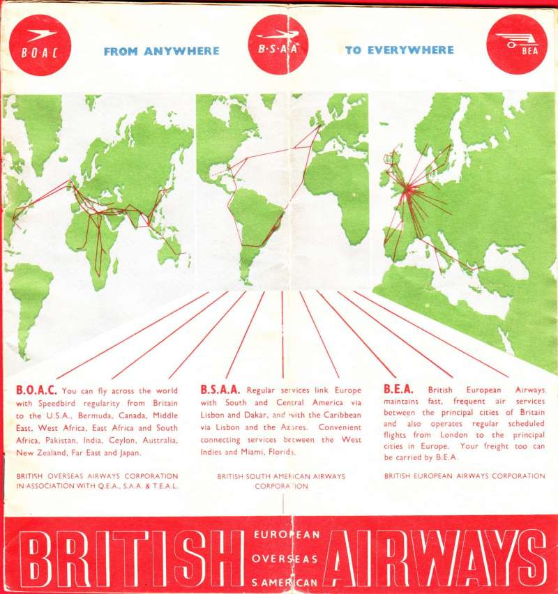 (Ephemera) BEA and Associated Companies, booklet containing route maps to and from London for 26 cities, 20pp, 18x20cm, pub circa 1952.