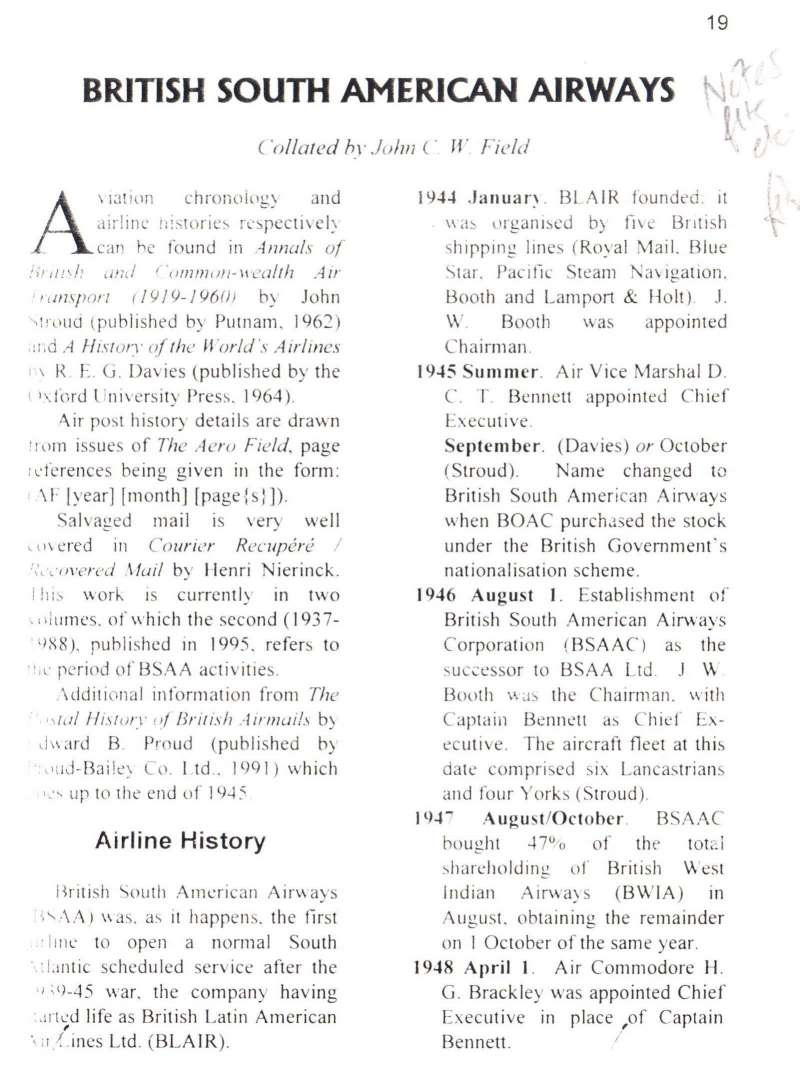 (Reference Material) British South American Airways, 10pp article by JCW Field covering airline history, routes, aircraft, personnel, prewar services and surveys, and details of c30 first and special flights 1945-1949