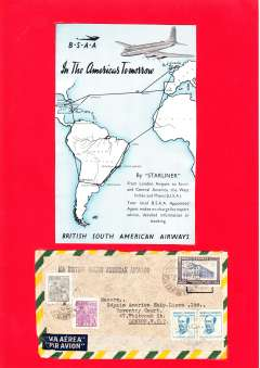(Ephemera) British South American Airways publicity leaflet, 17x11cm showing map of 'Starliner' route ffom London t South and Central America. Also airmail cover from Brazil to London with uncommon black 'VIA BRITISH SOUTH AMERICAN AIRWAYS' hs, franked 11,6000Rs + 10,000 crz. See scan.