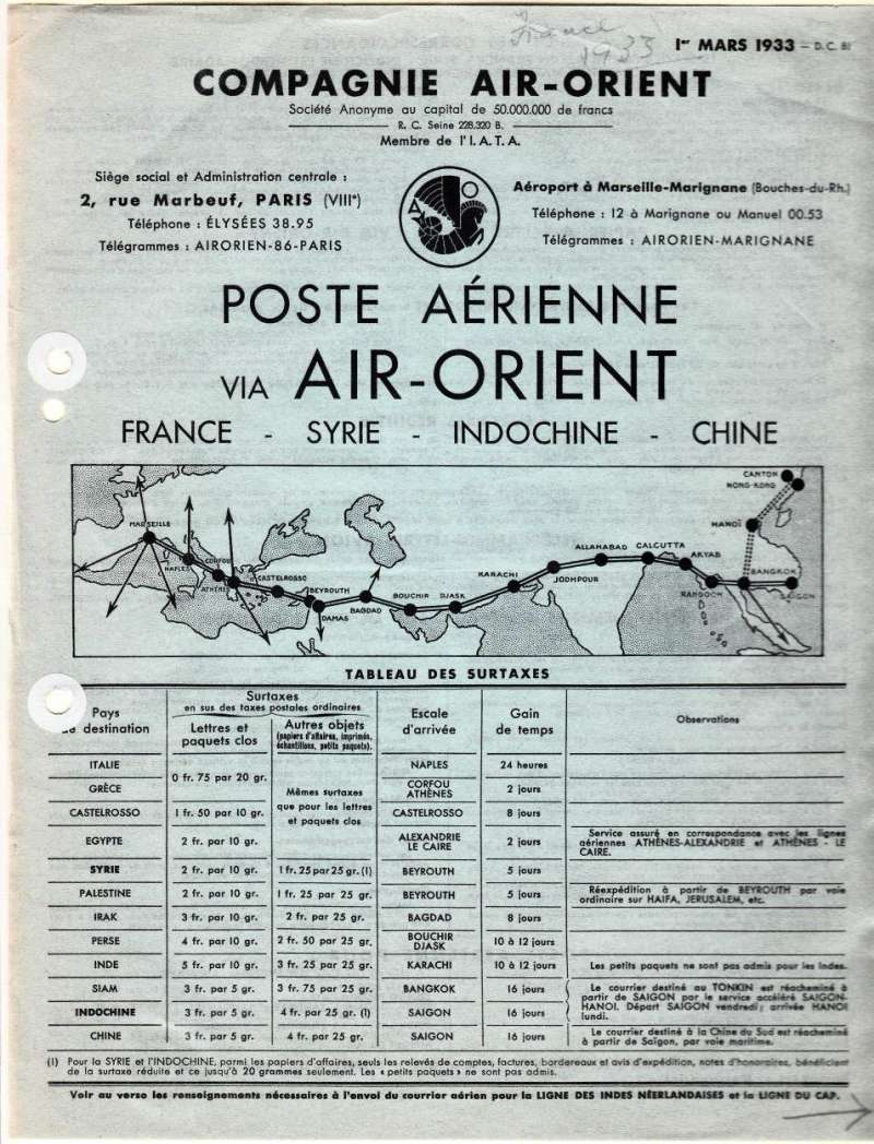 (Ephemera) Compagnie Air-Orient, original official publication, 1 March, 1933 listing air surtax rates to be paid in addition to ordinary postage to12 countries en route from France to China,also via Imperial AW to Africa,  2pp, 21x27cm, neat reinforcing filing holes. See scan.