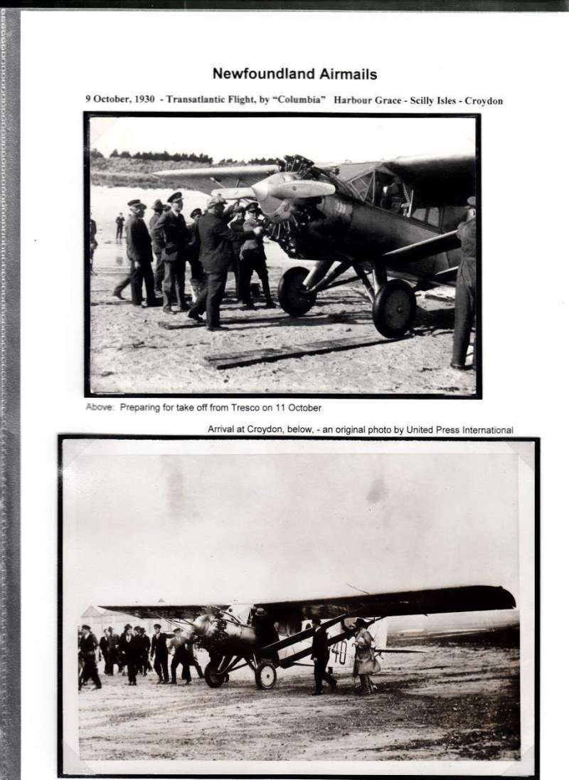 (Ephemera) 'Colombia' Transatlantic Flight, 9/10/1930, two original photographs, 10x15cm, taken by local photographer, 'Errol Boyd in business suit standing by plane on the beach at Treso' , and 'On the wing refuelling the plane@.