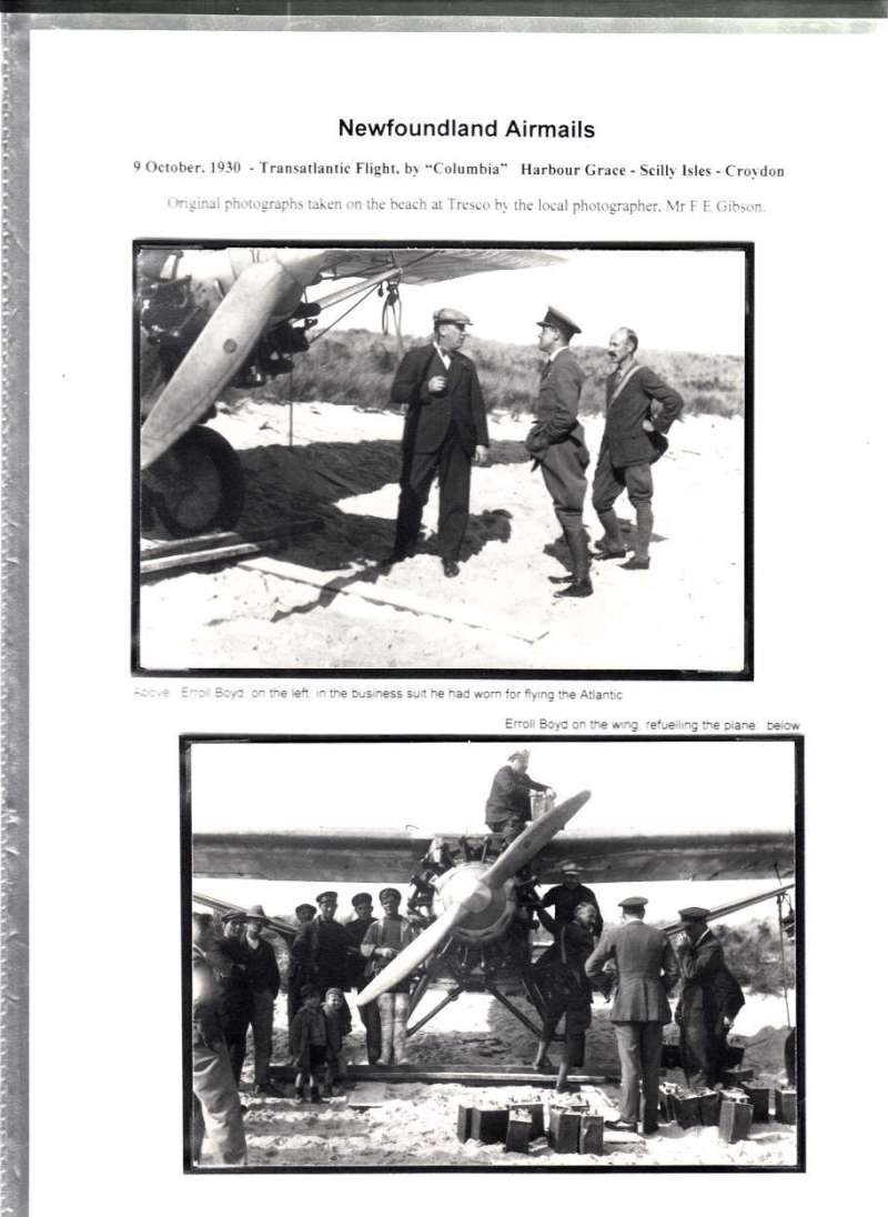 (Ephemera) 'Colombia' Transatlantic Flight, 9/10/1930, two original photographs, 10x15cm, taken by local photographer, 'Preparing to take off from Tresco on 11/10/1931' and 'Arrival at Croydon'.