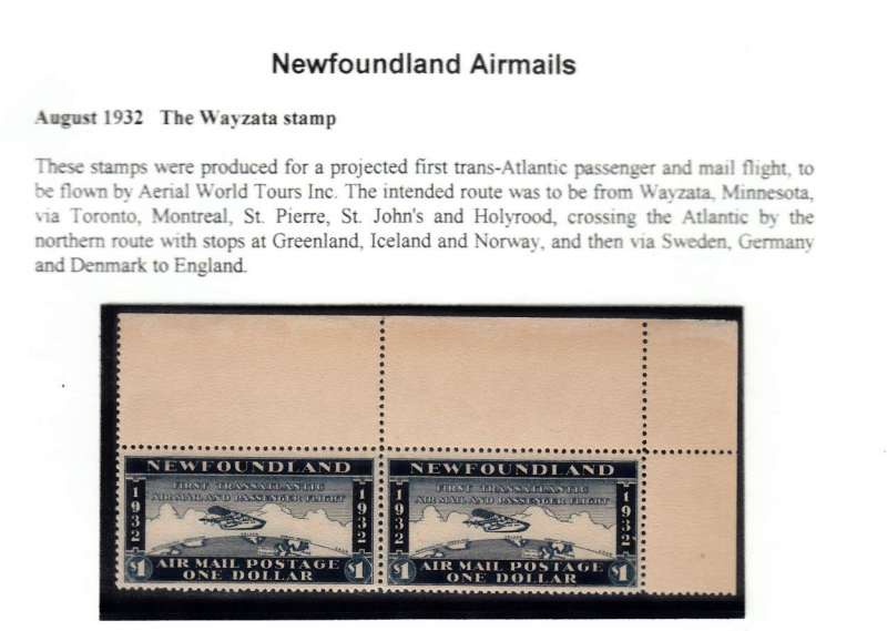 (Ephemera) 'The Wayzata' stamp, Newfoundland  airmails, fine umm marginal pair. Se scan.