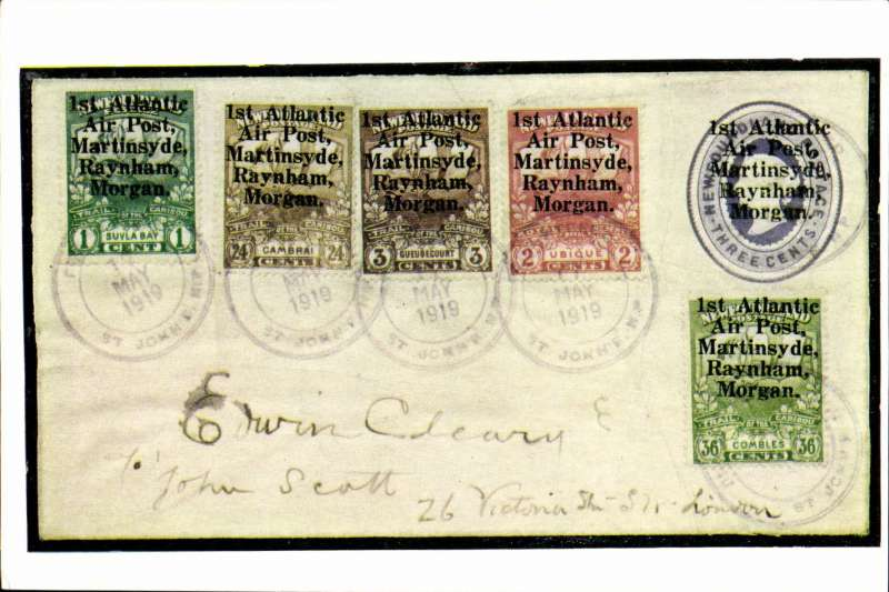 (Ephemera) 1919, first trans-Atlantic flight, colour PPC of cover from the Marquess of Bute's collection franked set of 5 stamps specially prepared for ths fligh and overprinted '1st Atlantic /AirPost /Martinsyde /Raynham /Morgan. Pub Robson Lowe, London.