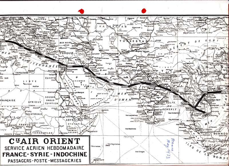 (Ephemera) AIR ORIENT, detailed route map (20x28cm) of the France -Syria-Indochina weekly service, May 1933, showing all stop of points en route. Collector's photocopy.