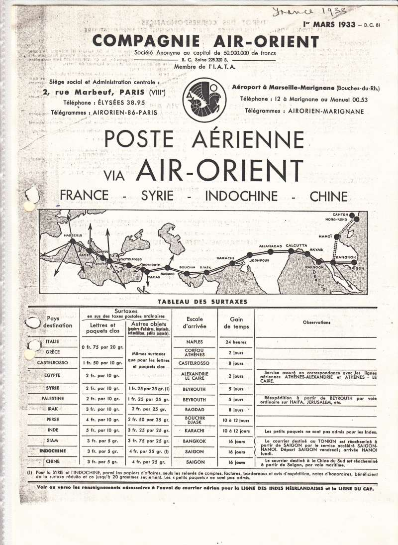 (Ephemera) Air Orient France-Syria-Indochina-China service, lists for 24 destinations en route - air surcharge from Marseilles and time gained over previous service. Collector's photocopy of original dated 1st March 1933.