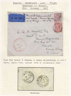 """(GB External) GB to Kenya,carried on Captain Gladstone's last flight Khartoum to Kisumu 17/10,airmail etiquette cover franked 7 1/2d posted from London, Notting Hill cds, red 'Kenya-Sudan/Oct 17/27/Air Mail' cachet, ms 'By first experimental/air mail. Cairo-Uganda/and Kenya 29.9.27'.  Newall states """"only 8 posted from London"""", ref 27.19c, 160 units. From General R. Ridgeway to GRF Martin, Asst. PMG Nairobi with original letter inside, see scans front and verso."""