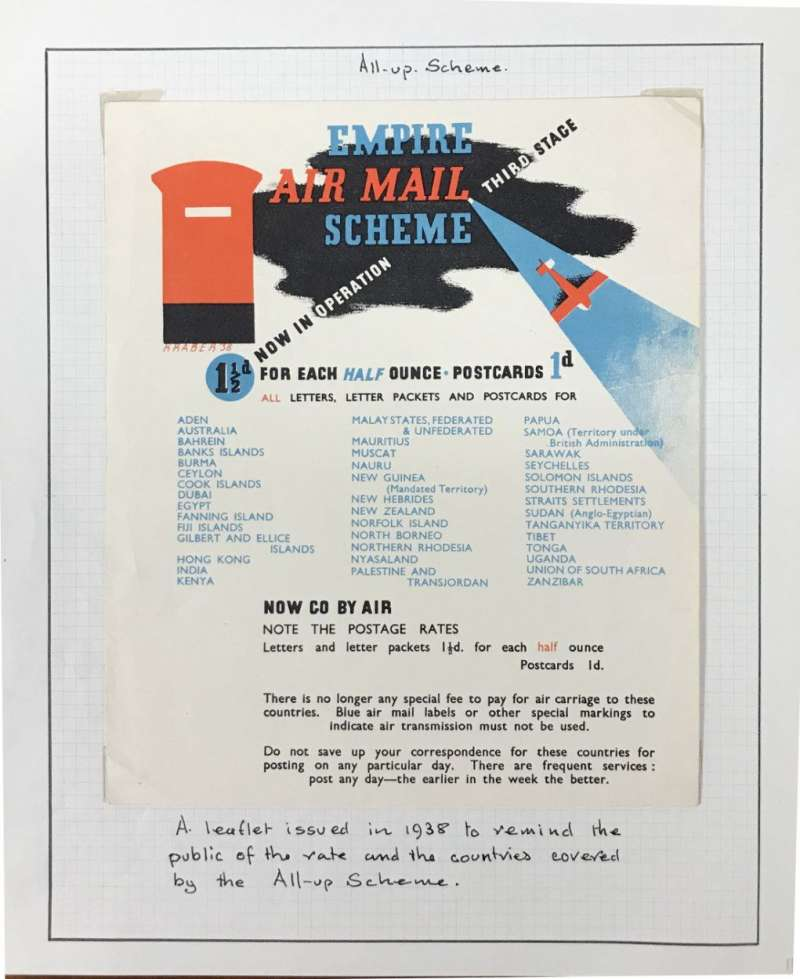 (Ephemera) Stage 3 All Up Scheme, attractive multicoloured PO leaflet, 18x15cm, listing c40 countries served and map of area covered, postage rates, times saved and flights per week.