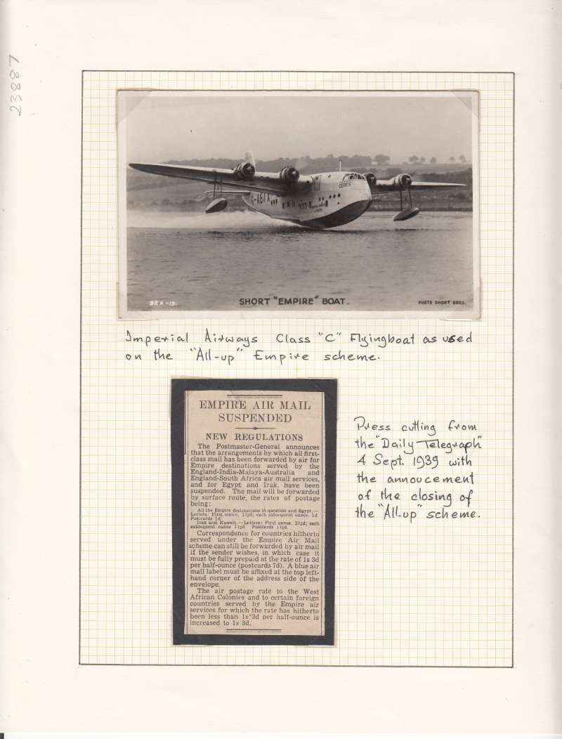 (Ephemera) Short Empire Flying Boat 'Ceres' taking off, original Valentine's B&W photocard; also 150 word Telegraph press cutting announcing the closing of the 'All Up' scheme