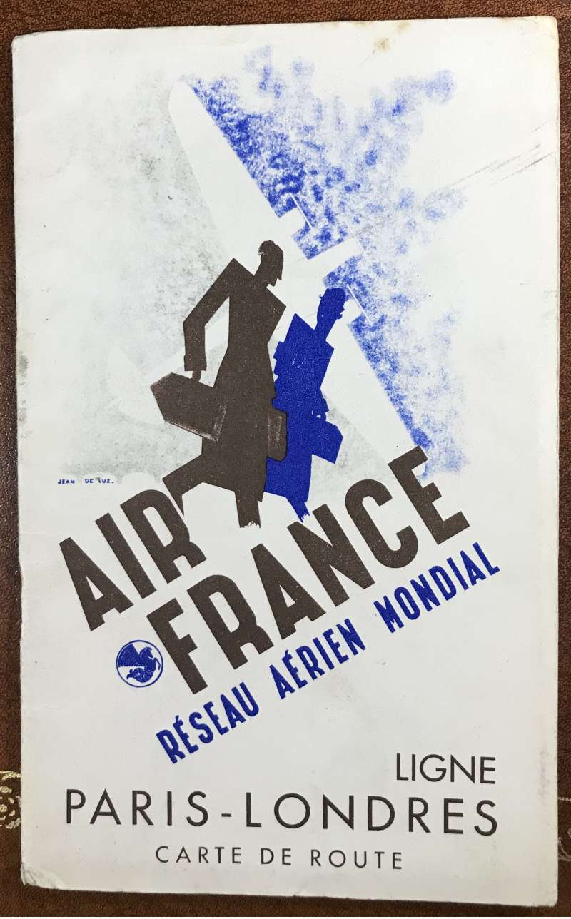 (Ephemera) Air France, The London to Paris Line, detailed map of every stop en route, with supprting text in English and French, pub c1935, 6pp, 20x12cm.