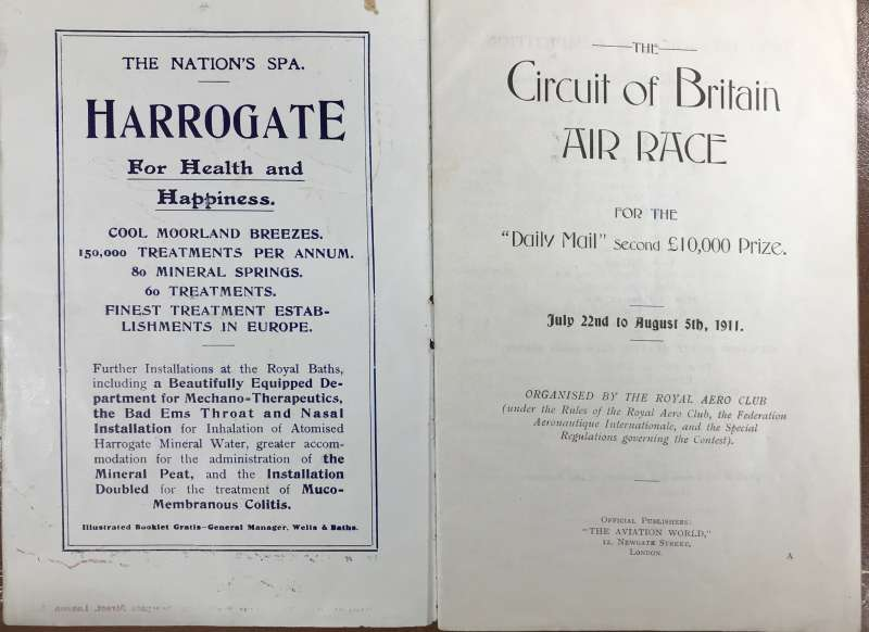 (Ephemera) Circuit of Britain Air Race 1911, Official Programme listing names, planes and head and shoulders photos of the 30 competitors, descriptions f the participating planes, and other official information, 16pp, 16x20cm.