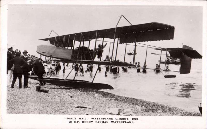 (Ephemera) Daily Mail Waterplane Circuit, 1912, original B&W PPC of 70 HP, Henry Waterman Waterplane on water's edge surrounded by onlookers, posted Teignmouth Aug 1, 1912.