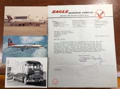 (Ephemera) Collection: EAGLE AVIATION LTD 1948-53 a pioneering British airline (for an absorbing history see http://www.britisheagle.net/History-Eagle-Airways.htm). including a sheet of original unused black/red/green headed company notepaper from its HQ at Blackbushe Airport; a letter on company notepaper written and signed by company founder and chairman Howard Bramberg; an original B&W photo of British Eagle airport bus 796 BLB (never seen this picture before), and a colour PPC of British Eagle Britannia in flight, and a colour photo of its BAC One Eleven G-ATPI 'Supreme' on the tarmac.