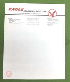 (Ephemera) Eagle Aviation Ltd 1948-53 a pioneering British airline.  A sheet of original unused black/red/green headed company notepaper from its HQ at Blackbushe Airport; For an absorbing history see http://www.britisheagle.net/History-Eagle-Airways.htm.